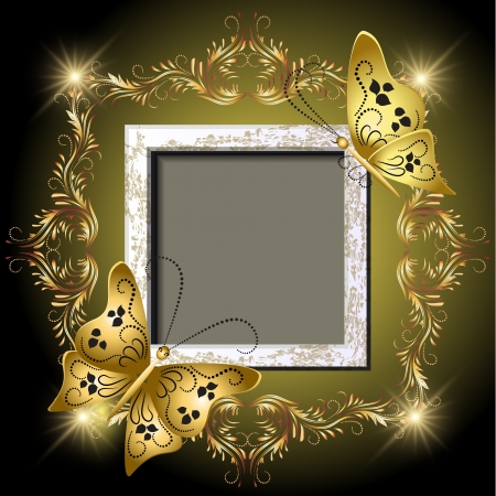 Background with grungy photo frame, butterflies and golden ornament for inserting text and photo Vector