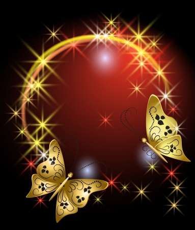 Glowing background with stars and butterflies Stock Vector - 13623218