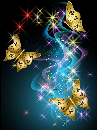 Glowing background with smoke, stars and butterfly Vector