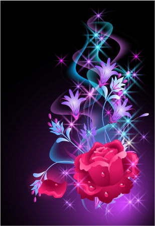 rose butterfly: Glowing background with rose and stars