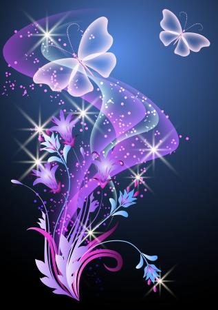 희미한 빛: 연기, 꽃과 나비와 함께 빛나는 배경