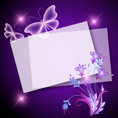 Glowing background with paper, flowers and butterfly Vector