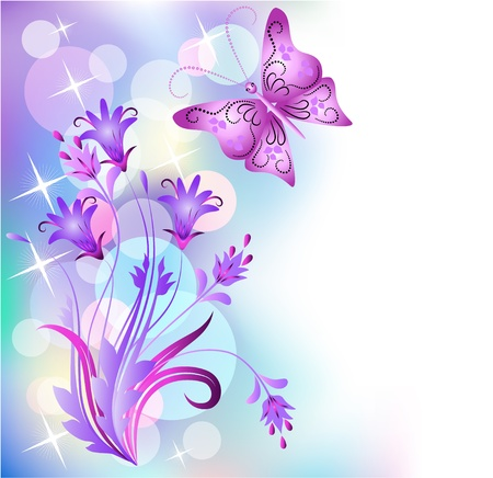 develop: Floral background with butterfly
