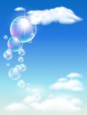 Blauer Himmel, Wolken und Blasen