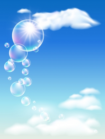Blue sky, clouds and bubbles    Vector