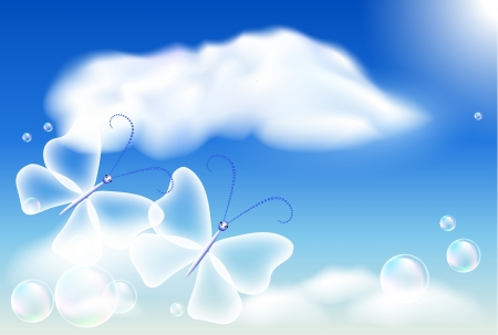 Butterflies in the blue sky and bubbles    Illustration