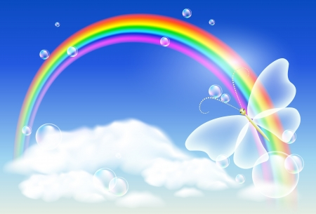Regenboog in de lucht en vlinder
