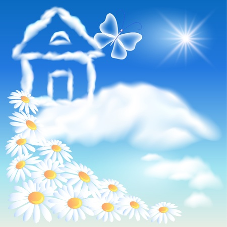 house fly: Cloud house in the sky and flowers Illustration