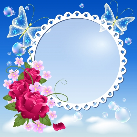 rose butterfly: Photo frame with flowers and butterflies