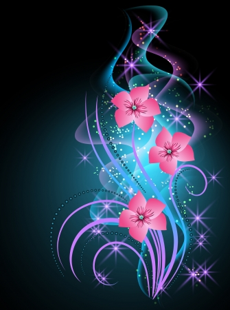 Glowing background with smoke and transparent flowers