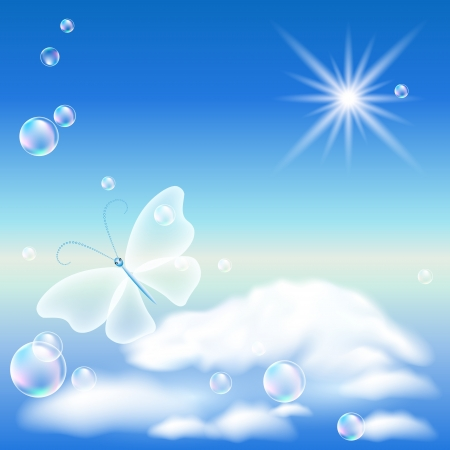 Butterfly in the blue sky and bubbles Vector
