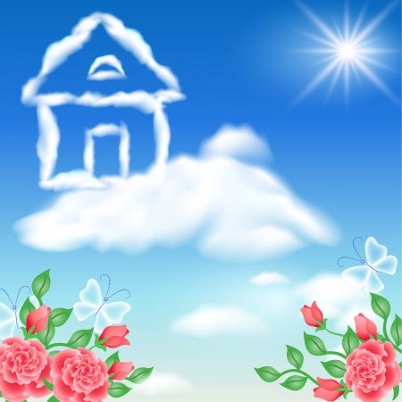 Cloud house in the sky and roses