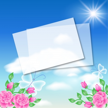 Paper for text in the blue sky and pink roses Vector