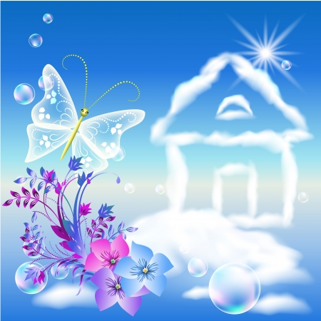 high beams: Cloud house in the sky and flowers Illustration