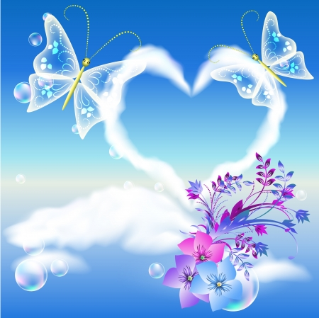 Clouds heart in the sky, flowers and two butterflies