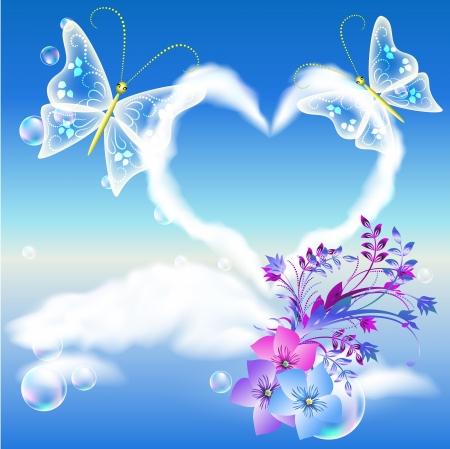 Las nubes del corazón en el cielo, las flores y las mariposas dos