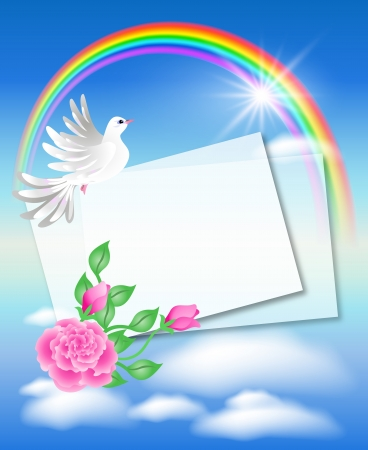 Dove with letter in the sky and rainbow Vector