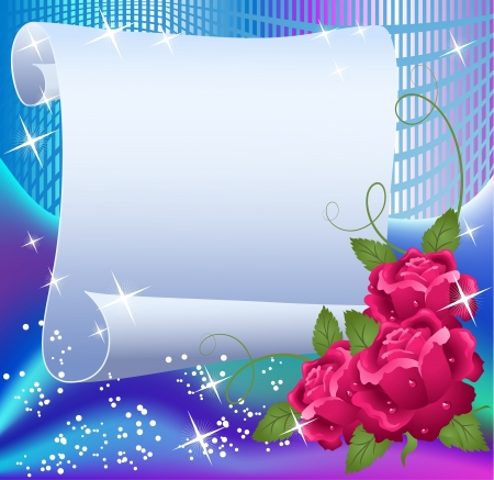 rolled: Magic background with paper, roses and a place for text