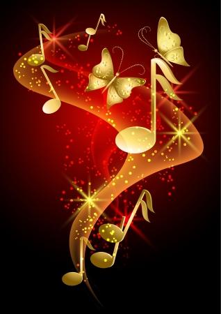 nota musical: Brillante fondo de oro con las notas musicales, humo, estrellas y mariposas