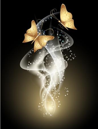 Gloeiende achtergrond met rook, sterren en vlinder