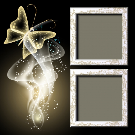 photographic effects: Background with grungy photo frame, butterfly and smoke for inserting text and photo Illustration