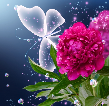 Peony, bubbles and butterfly photo