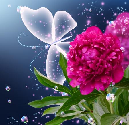 Pfingstrose, Blasen und Schmetterling Standard-Bild