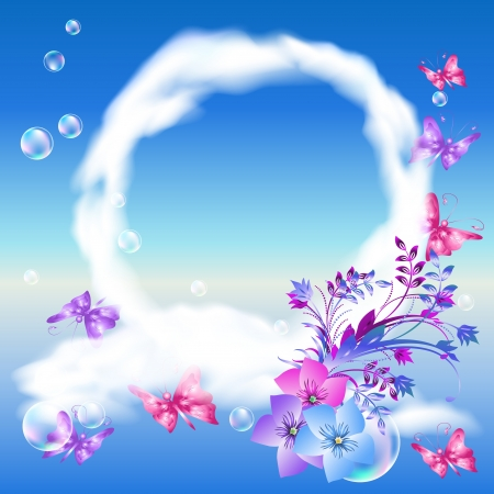 Round frame of clouds, flowers, butterflies in the sky Vector