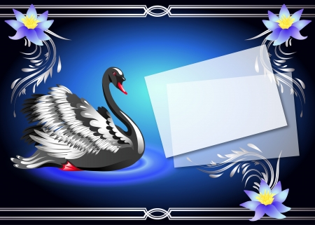 Elegant black swan on blue background with lilies and a place for your text Vector