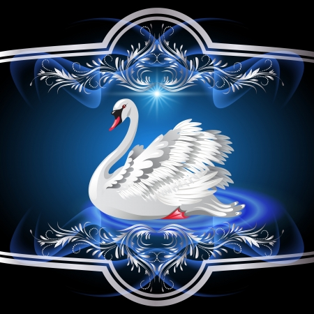 Elegant white swan on blue background  and silver ornament Stock Vector - 13913012