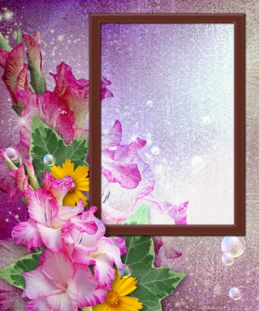 Old grunge background with photo frame with gladiolus   Stock Photo - 13979101