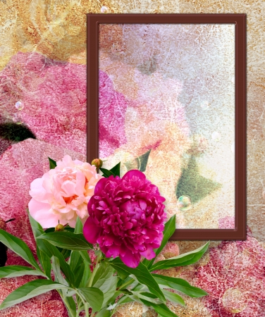 Old grunge background with photo frame and peony