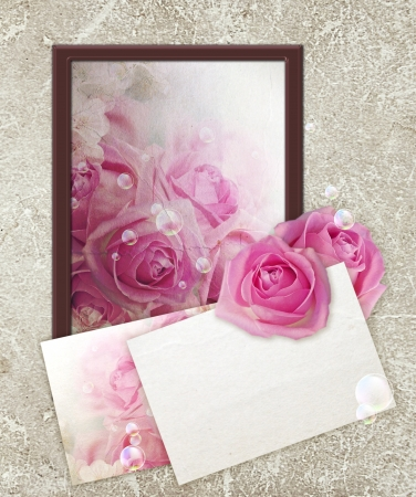 Photo frame with roses and paper for letter Stock Photo - 13979100