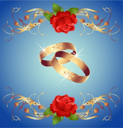 Invitation card with wedding rings and red roses Vector