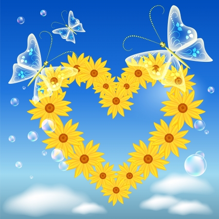 Butterflies and flowers heart in the sky Vector