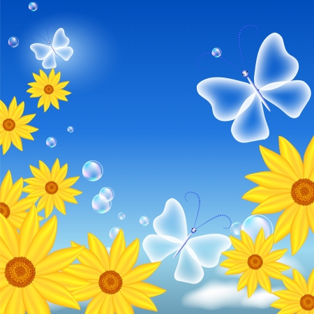 Butterflies and flowers in the sky Stock Vector - 13979115