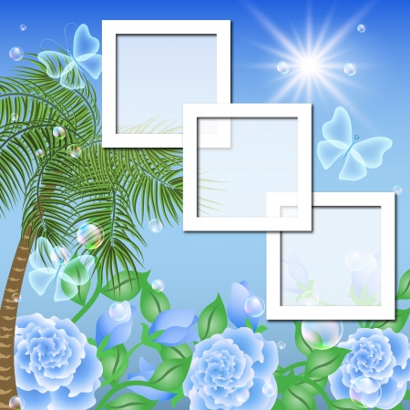 Photo frames in the landscape with palm trees, flowers and transparent butterfly Vector