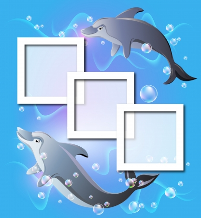 Photo frames and pair dolphins swims in the water with air bubbles Vector