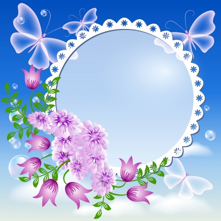 Photo frame with flowers and butterflies Stock Vector - 13979135