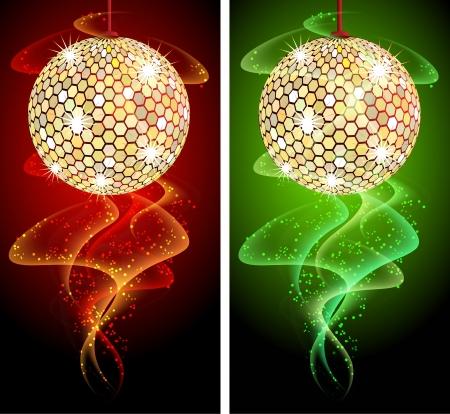 glitter ball: Celebratory background with diskoball and glowing smoke