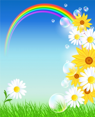 Meadow flowers, rainbow, bubbles and blue sky Vector