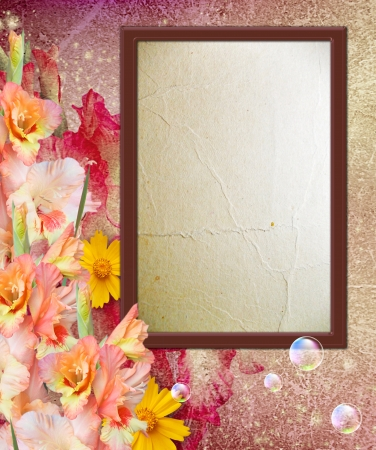 Old grunge background with photo frame with gladiolus Stock Photo - 13979131