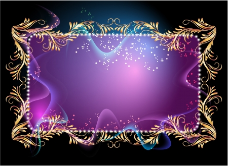 Glowing background with signboard, smoke and golden ornament Vector