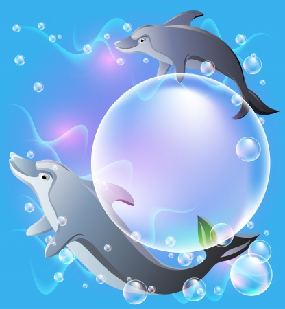 Pair dolphins swims in the water with air bubbles   Big bubble for insert text or pictures  Vector