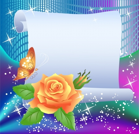 shone: Magic background with paper, rose, butterfly and a place for text Illustration