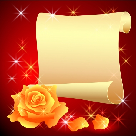 Folded parchment for your text and rose Vector