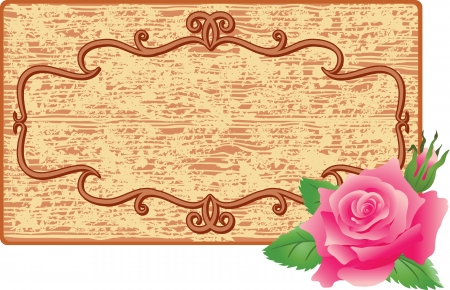 Abstract background with wooden frame and rose Vector