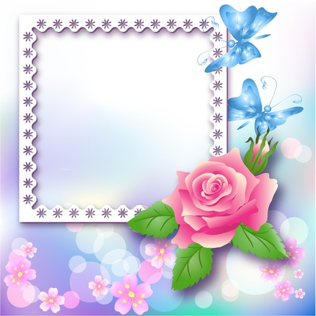 Page layout photo album with rose and butterfly Vector