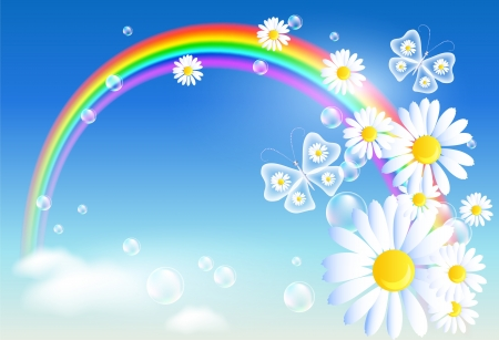 Rainbow, clouds and diasy Vector