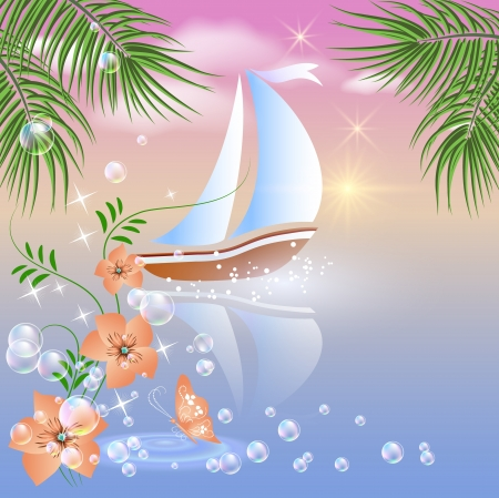 Sailing boat floats on the sea at sunset  Vector
